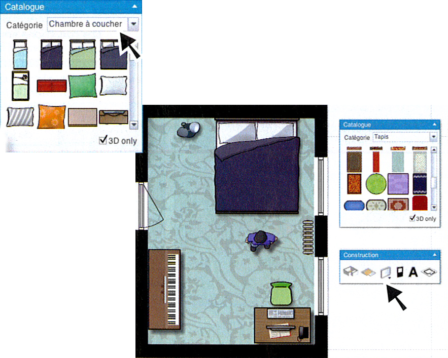 sachez que sil vous manque un mur pour placer un bibliothque vous pouvez rajouter une cloison choisissez licne dessiner simple - Dessin Chambre 3d
